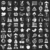 Vector doodle set with business signs and icons Finance Insurance Internet marketing