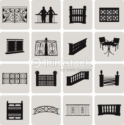 Vector doorway and balcony black icons and element set2 for Balcony vector