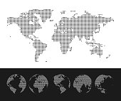 Dotted World Map and Globe set. Vector illustration