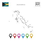 Dotted Map of Bahamas. Simple Silhouette of Bahamas. The National Flag of Bahamas. Set of Multicolored Map Markers. Vector Illustration Isolated on White Background.