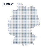 Vector dotted map of Germany isolated on white background . Travel vector illustration