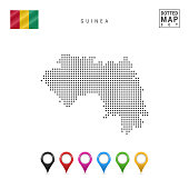 Dotted Map of Guinea. Simple Silhouette of Guinea. The National Flag of Guinea. Set of Multicolored Map Markers. Vector Illustration Isolated on White Background.
