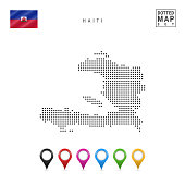 Dotted Map of Haiti. Simple Silhouette of Haiti. The National Flag of Haiti. Set of Multicolored Map Markers. Vector Illustration Isolated on White Background.