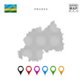 Dotted Map of Rwanda. Simple Silhouette of Rwanda. The National Flag of Rwanda. Set of Multicolored Map Markers. Vector Illustration Isolated on White Background.