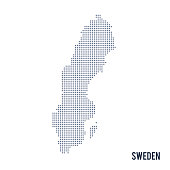 Vector dotted map of Sweden isolated on white background . Travel vector illustration