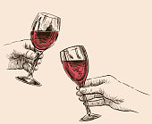A sketches of human hands with glasses of wine.