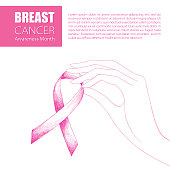 Vector drawing with contour woman hand and sketch pink ribbon isolated on white background. Breast Cancer Awareness Month symbol. Design for international health campaign for woman in October.