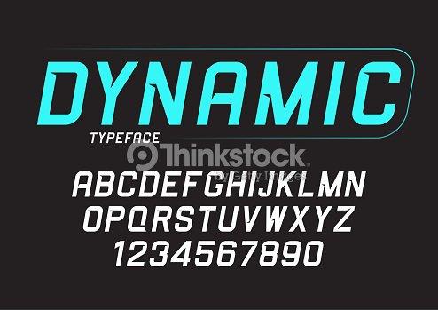 Vector dynamic bold italic font design, alphabet, typeface, typo : stock vector