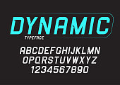 Vector dynamic bold italic font design, alphabet, typeface, typography