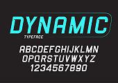 Vector dynamic bold italic font design, alphabet, typeface, typography