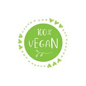 Vector eco, bio green  or sign. Vegan, raw, healthy food badge, tag for cafe, restaurants, products packaging. Hand drawn plant elements with lettering. Organic design template.
