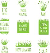 Vector Eco Friendly, 100 Natural, Raw, Organic product labels, stickers, tags and shapes on white background. Nature food, cosmetic stains set