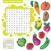 Vector color crossword, education game for children about vegetables. Word search puzzle