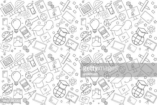 Vector e-learning pattern. E-learning seamless background : Vector Art