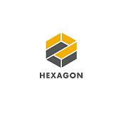 Vector element design template for business. Hexagon sign