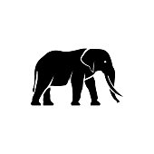 Vector elephant silhouette view side for retro icons, emblems, badges, labels template vintage design element. Isolated on white background