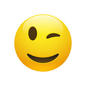Vector Emoji yellow smiley winking face with eyes and mouth on white background. Funny cartoon Emoji icon. 3D illustration for chat or message.