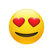 Vector Emoji yellow stupid smiley face with red heart eyes and mouth on white background. Funny cartoon Emoji icon. 3D illustration for chat or message.