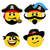 Face icons of pirate captains and seamen in cartoon style on white background.