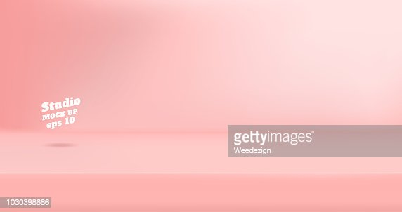 Vector Empty pastel pink color studio table room background ,product display with copy space for display of content design.Banner for advertise product on website : stock vector