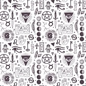Vector esoteric astrology symbols seamless pattern
