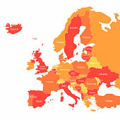 Vector Europe map with countries borders. Abstract red and yellow Europe countries on map for infographic