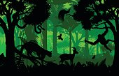 Vector evening indonesian tropical rainforest Jungle background with clouded leopard, gazelle, python, paradise bird and orangutan