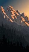 vector evening mountains landscape