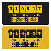 Vector Event presentation sale timer. Yellow black numbers counter template banner, all digits with flips included. Countdown clock digits board