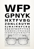 Eye chart concept with glasses.