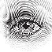 Vector human eye in engraved style.