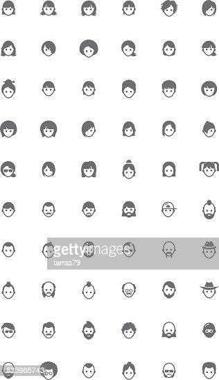Vector faces icon set : Vector Art