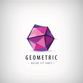 Vector faceted origami logo, abstract crystal logo, icon isolated