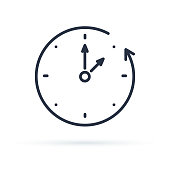 Vector fall backward icon. Change, Adjust or set time. Image of Clock to Past isolated on white background.