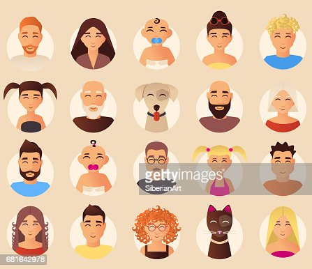 Vector family avatars icons set in flat style : Vector Art