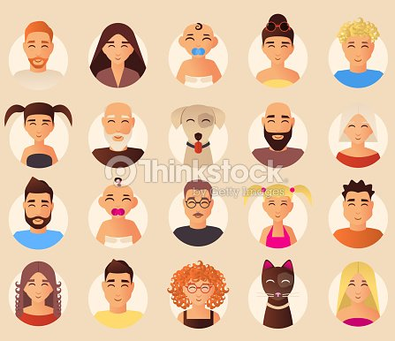 Vector family avatars icons set in flat style : stock vector