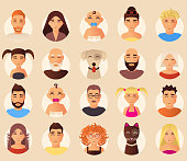 Vector set of family avatars. Smiling family people and domestic animals cartoon characters, icons, flat style design elements.