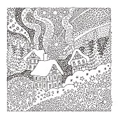 Vector fantasy landscape. Fairy tale old medieval town, house, fir trees.  Hand drawn sketch snowflakes. T-shirt print. Coloring book page for adults and children. Black and white. Christmas and New Y