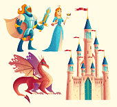 Vector set of fantasy, fairy tale game design objects isolated on white background. Knight in armor, red, fantastic dragon, princess, royal castle. Medieval, magical characters, ui concept.