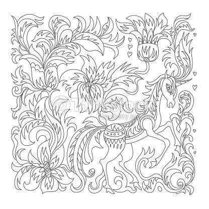 Vector De Caballo Unicornio De Fantasía Flores árboles Hojas Gris ...