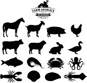 Vector farm animals and seafood silhouettes isolated on white. Livestock, poultry and seafood icons collection for groceries, meat stores and seafood shop