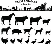 Vector farm animals silhouettes isolated on white. Livestock and  poultry icons. Rural landscape with trees, plants, farm animals and  farm