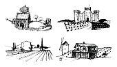 Vector farm landscapes illustrations set. Sketches of castle, agricultural homestead, watermill etc in fields and hills. Hand drawn rural countryside