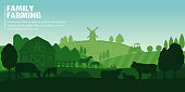 Vector farming illustration. Rural landscape, farm animals and design elements