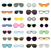 Vector fashion glasses collection isolated on white. Fashion glasses. Hipster fashion glasses, summer  fashion glasses vector illustration. Sunglasses isolated vector illustration. Glasses collection