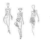 Vector fashion sketch. Set of beautiful models standing in cocktail gorgeous dresses. Gown for a party. Skinny body silhouette isolated on white, high heels. Haute couture fashion show