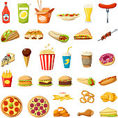 Fast food flat icons set. Vector isolated cheeseburger burger, hot dog sandwich and pizza, donut or popcorn dessert and coffee drink, cake or burrito and tacos or ice cream and fries for fastfood menu