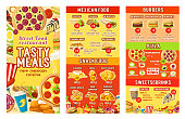 Fast food restaurant menu design template for street food, burgers or pizza and Mexican cuisine. Vector price for fastfood cheeseburger sandwich, hot dog or hamburger and burrito, donut and fries