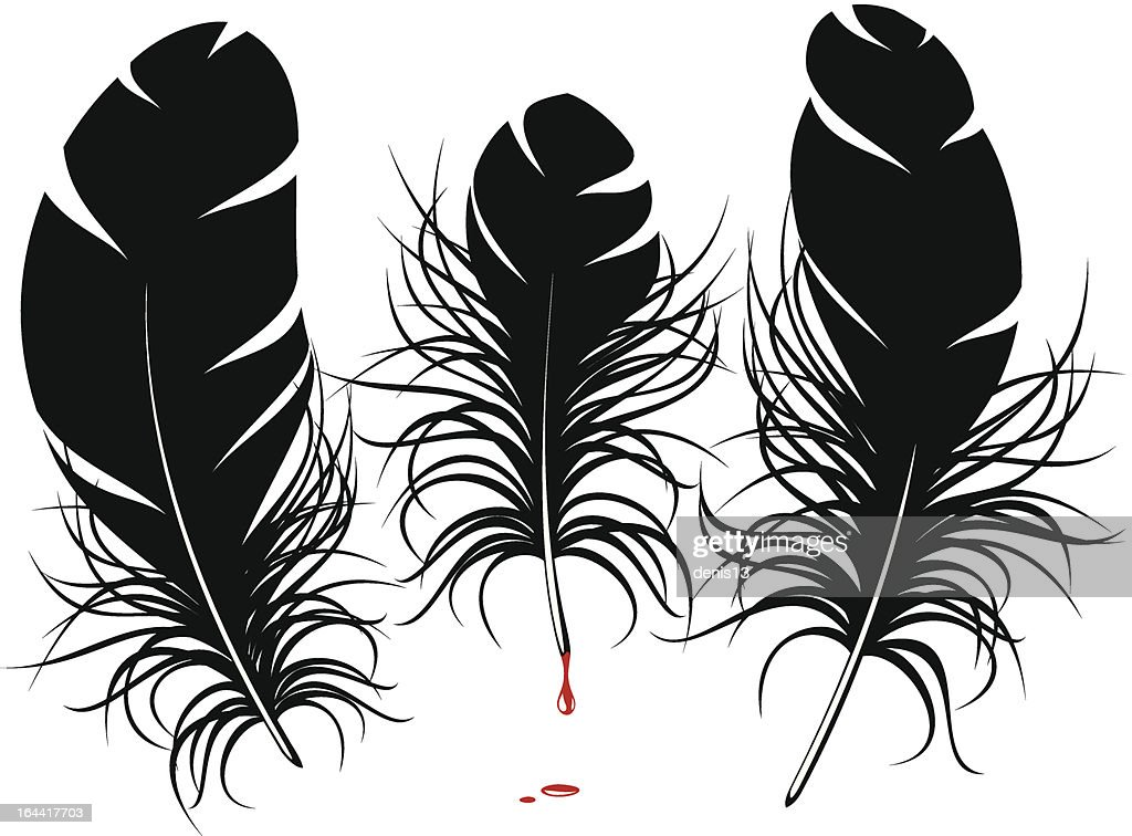 Line Drawing Feather : Vector feather silhouette art thinkstock
