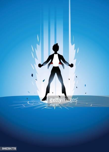Vector Female Businesswoman Superhero Bursting Energy Out
